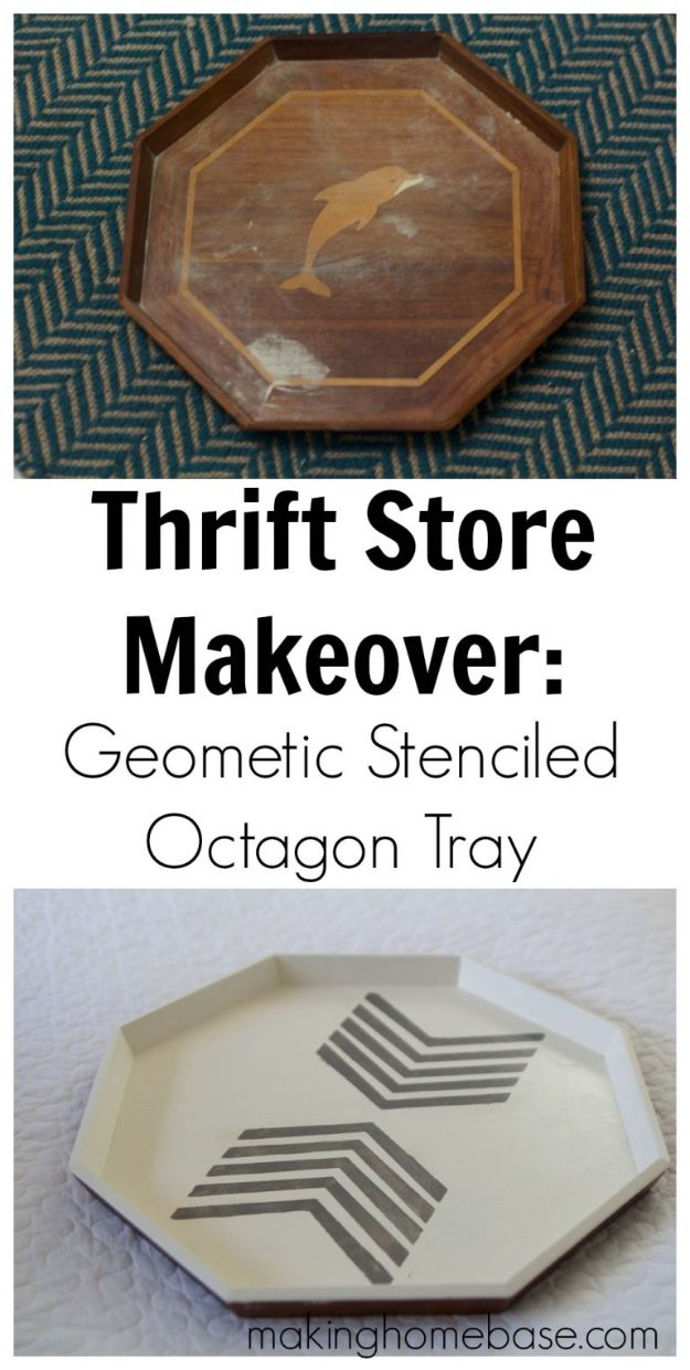 Thrift Store DIY Makeovers - Stylish Octagon Tray - Decor and Furniture With Upcycling Projects and Tutorials - Room Decor Ideas on A Budget - Crafts and Decor to Make and Sell - Before and After Photos - Farmhouse, Outdoor, Bedroom, Kitchen, Living Room and Dining Room Furniture http://diyjoy.com/thrift-store-makeovers