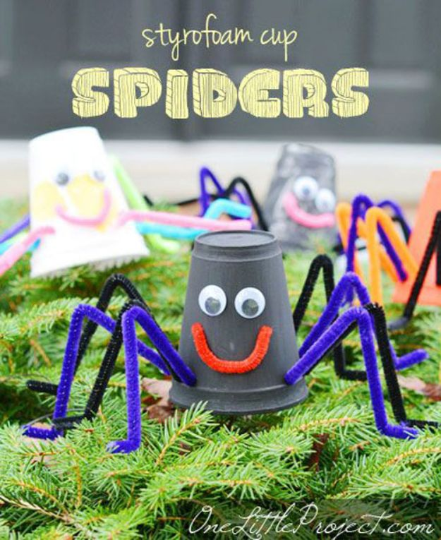 Fun Fall Crafts for Kids - Styrofoam Cup Spiders - Cool Crafts Ideas for Kids to Make With Paper, Glue, Leaves, Corn Husk, Pumpkin and Glitter - Halloween and Thanksgiving - Children Love Making Art, Paintings, Cards and Fall Decor - Placemats, Place Cards, Wall Art , Party Food and Decorations for Toddlers, Boys and Girls http://diyjoy.com/fun-fall-crafts-kids