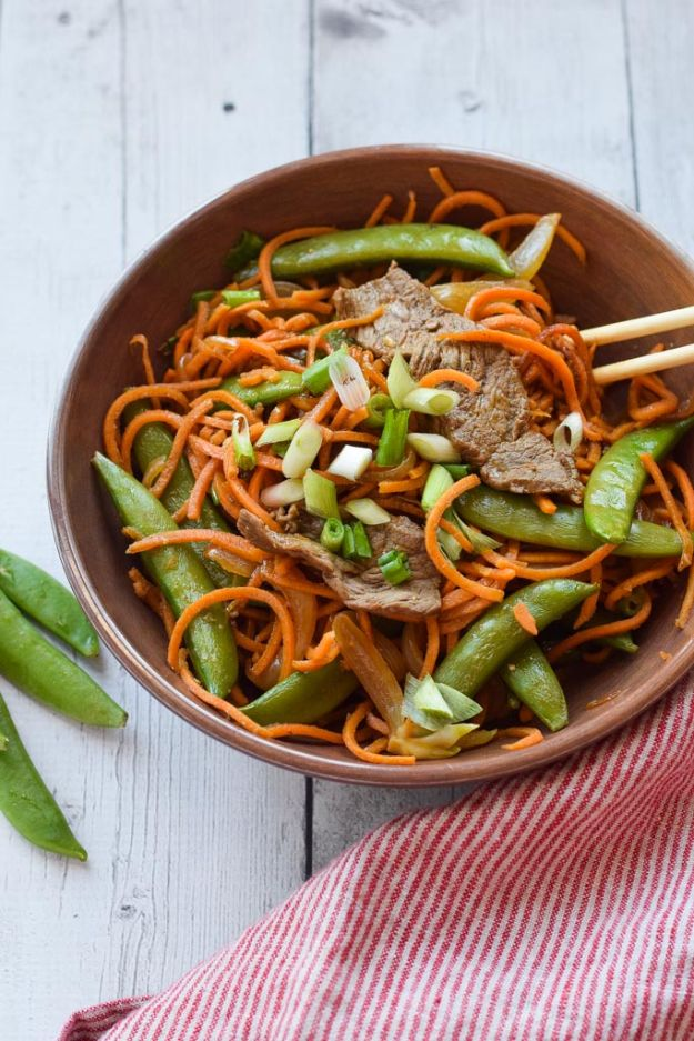 Veggie Noodle Recipes - Sweet Potato Noodle Stir Fry with Steak - How to Cook With Veggie Noodles - Healthy Pasta Recipe Ideas - How to Make Veggie Noodles With Carrots and Zucchini - Vegan, Vegetarian , Keto and Low Carb Dishes for Your Diet - Meatballs, Chicken, Cheese, Asian Stir Fry, Salad and Raw Preparations #veggienoodles #recipes #keto #lowcarb #ketorecipes http://diyjoy.com/veggie-noodle-recipes