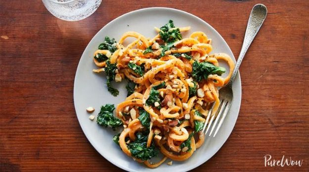 Veggie Noodle Recipes - Sweet Potato Noodles with Almond Sauce - How to Cook With Veggie Noodles - Healthy Pasta Recipe Ideas - How to Make Veggie Noodles With Carrots and Zucchini - Vegan, Vegetarian , Keto and Low Carb Dishes for Your Diet - Meatballs, Chicken, Cheese, Asian Stir Fry, Salad and Raw Preparations #veggienoodles #recipes #keto #lowcarb #ketorecipes http://diyjoy.com/veggie-noodle-recipes