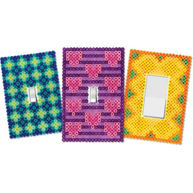 DIY perler bead crafts - Switch Plate Covers - Cute Accessories and Homemade Decor That Make Creative DIY Gifts - Plastic Melted Beads Make Cool Art for Walls, Jewelry and Things To Make When You are Bored #diy #crafts