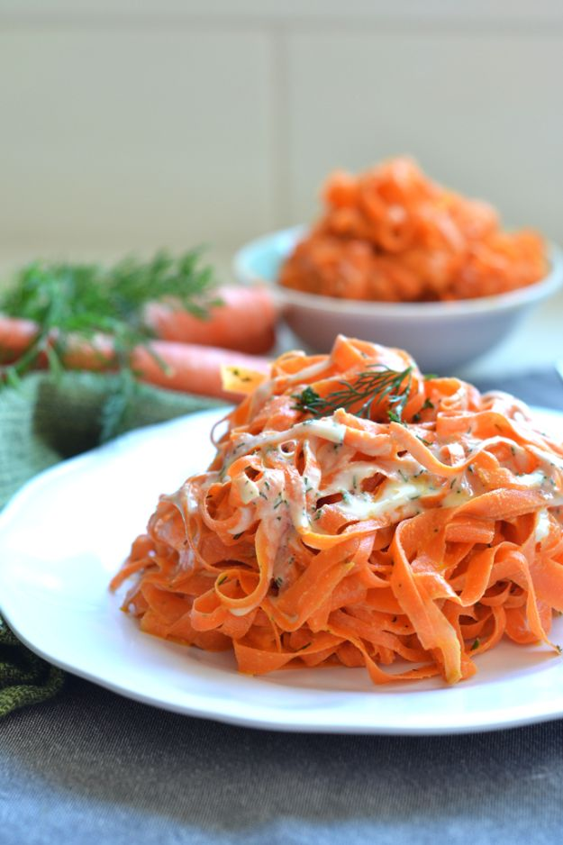 Veggie Noodle Recipes - Tahini Dill Carrot Noodles - How to Cook With Veggie Noodles - Healthy Pasta Recipe Ideas - How to Make Veggie Noodles With Carrots and Zucchini - Vegan, Vegetarian , Keto and Low Carb Dishes for Your Diet - Meatballs, Chicken, Cheese, Asian Stir Fry, Salad and Raw Preparations #veggienoodles #recipes #keto #lowcarb #ketorecipes http://diyjoy.com/veggie-noodle-recipes