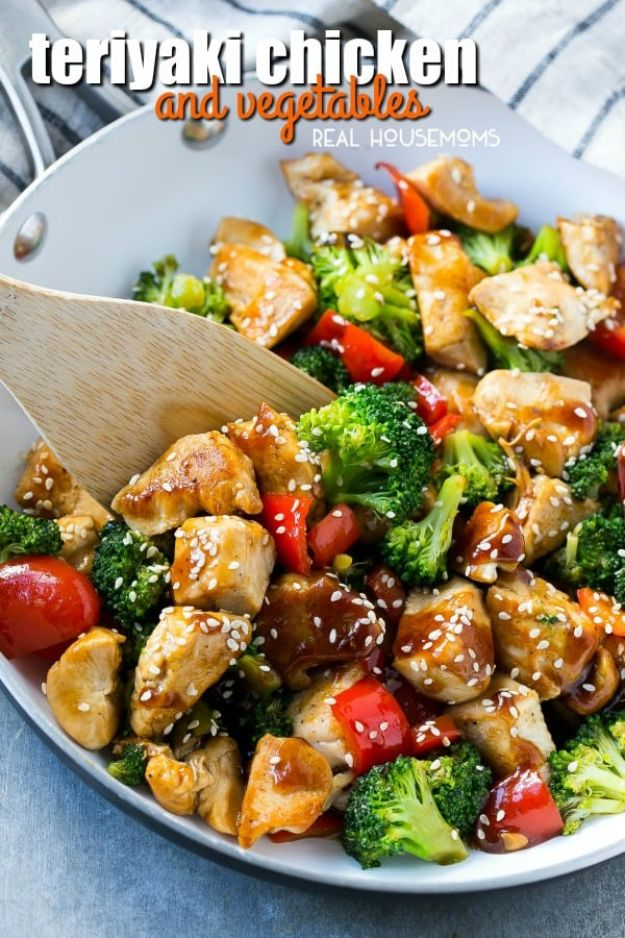 Easy Healthy Chicken Recipes - Teriyaki Chicken and Vegetables - Lunch and Dinner Ideas, Party Foods and Casseroles, Idea for the Grill and Salads- Chicken Breast, Baked, Roastedf and Grilled Chicken #recipes #healthy #chicken