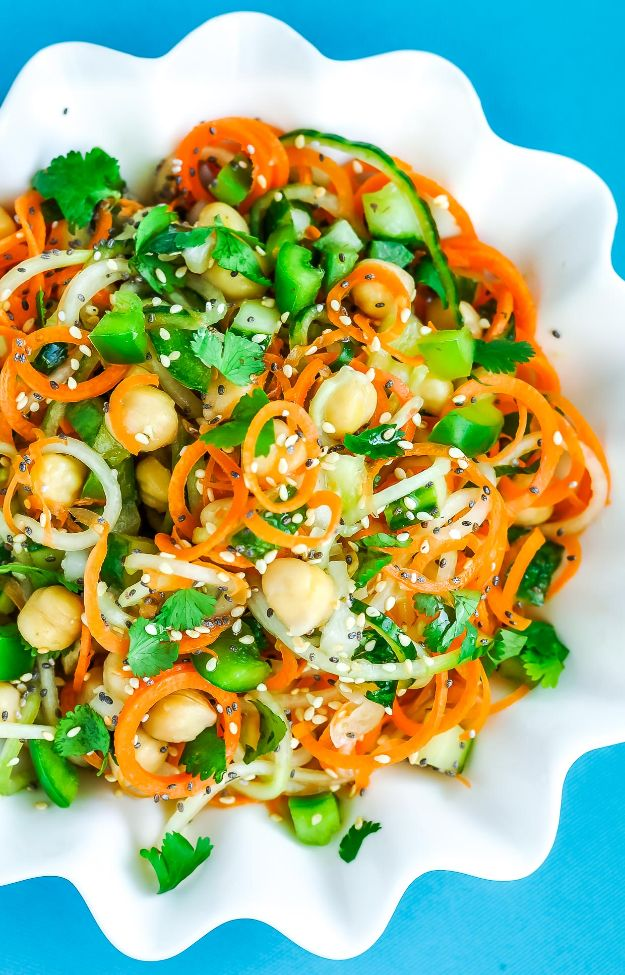 Veggie Noodle Recipes - Thai Salad with Carrot and Cucumber Noodles - How to Cook With Veggie Noodles - Healthy Pasta Recipe Ideas - How to Make Veggie Noodles With Carrots and Zucchini - Vegan, Vegetarian , Keto and Low Carb Dishes for Your Diet - Meatballs, Chicken, Cheese, Asian Stir Fry, Salad and Raw Preparations #veggienoodles #recipes #keto #lowcarb #ketorecipes #veggies #healthyrecipes #veganrecipes