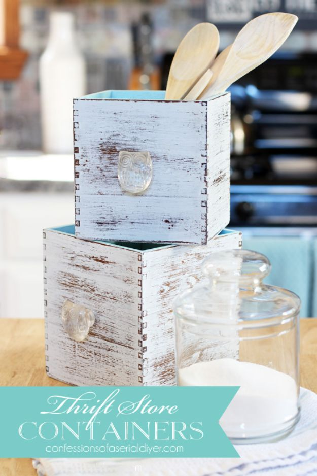 Thrift Store DIY Makeovers - Thrift Store Containers - Decor and Furniture With Upcycling Projects and Tutorials - Room Decor Ideas on A Budget - Crafts and Decor to Make and Sell - Before and After Photos - Farmhouse, Outdoor, Bedroom, Kitchen, Living Room and Dining Room Furniture http://diyjoy.com/thrift-store-makeovers
