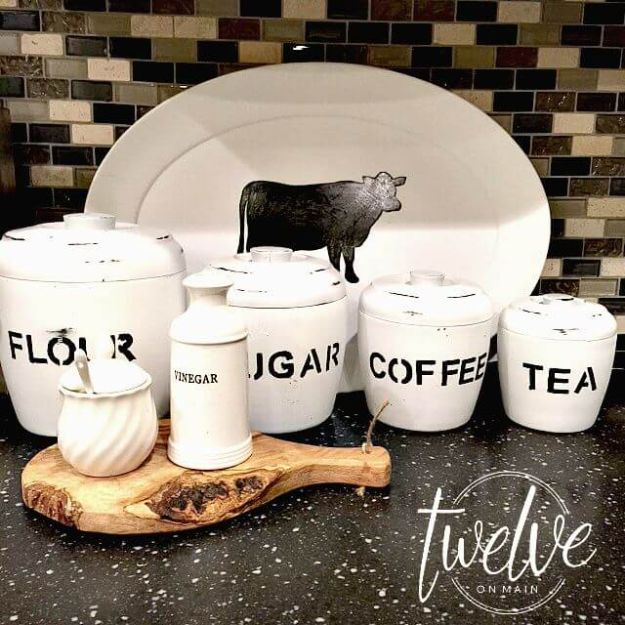 Dollar Tree Crafts - Thrift Store Farmhouse Canisters - DIY Ideas and Crafts Projects From Dollar Tree Stores - Easy Organizing Project Tutorials and Home Decorations- Cheap Crafts to Make and Sell #dollarstore #dollartree #dollarstorecrafts #cheapcrafts #crafts #diy #diyideas