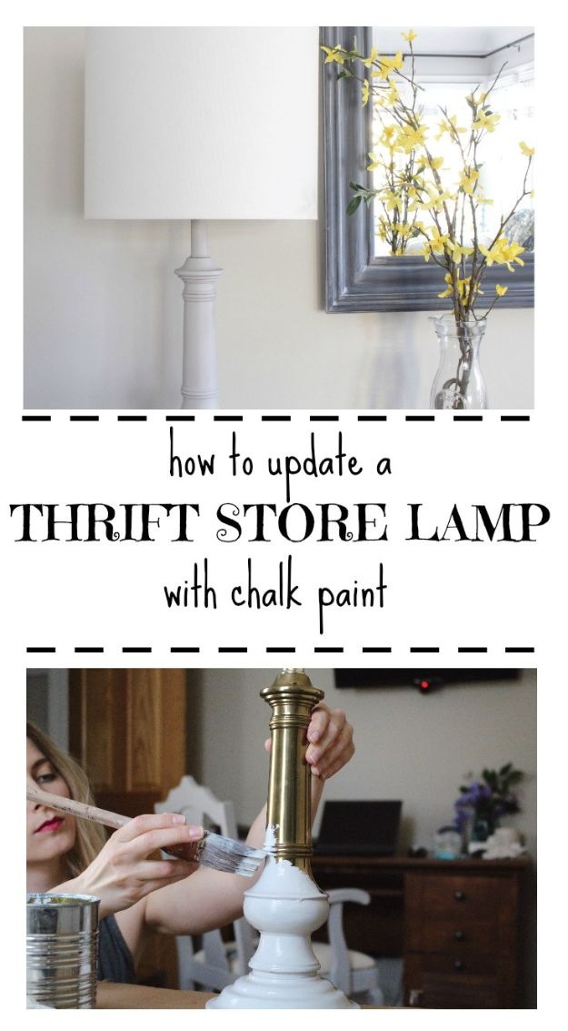 Thrift Store DIY Makeovers - Thrift Store Lamp Makeover With Chalk Paint - Decor and Furniture With Upcycling Projects and Tutorials - Room Decor Ideas on A Budget - Crafts and Decor to Make and Sell - Before and After Photos - Farmhouse, Outdoor, Bedroom, Kitchen, Living Room and Dining Room Furniture http://diyjoy.com/thrift-store-makeovers