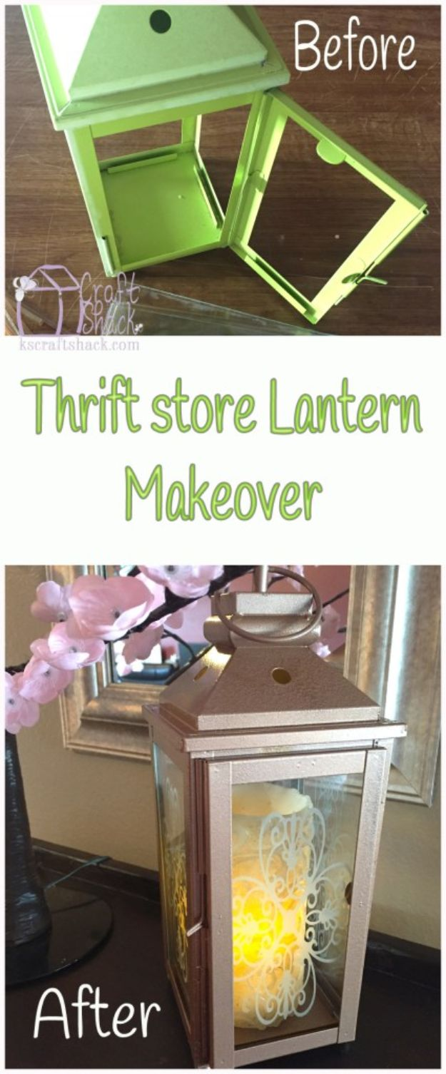 Thrift Store DIY Makeovers - Thrift Store Lantern Makeover - Decor and Furniture With Upcycling Projects and Tutorials - Room Decor Ideas on A Budget - Crafts and Decor to Make and Sell - Before and After Photos - Farmhouse, Outdoor, Bedroom, Kitchen, Living Room and Dining Room Furniture http://diyjoy.com/thrift-store-makeovers