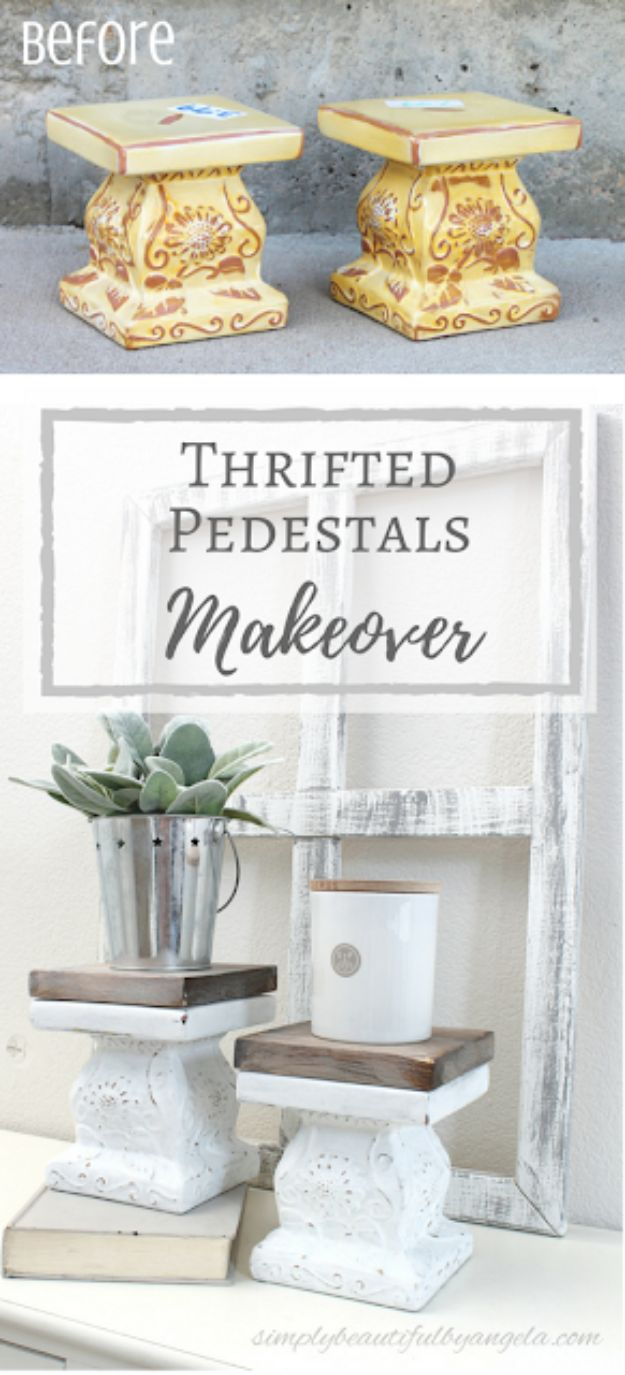 Thrift Store DIY Makeovers - Thrifted Pedestals Makeover - Decor and Furniture With Upcycling Projects and Tutorials - Room Decor Ideas on A Budget - Crafts and Decor to Make and Sell - Before and After Photos - Farmhouse, Outdoor, Bedroom, Kitchen, Living Room and Dining Room Furniture http://diyjoy.com/thrift-store-makeovers