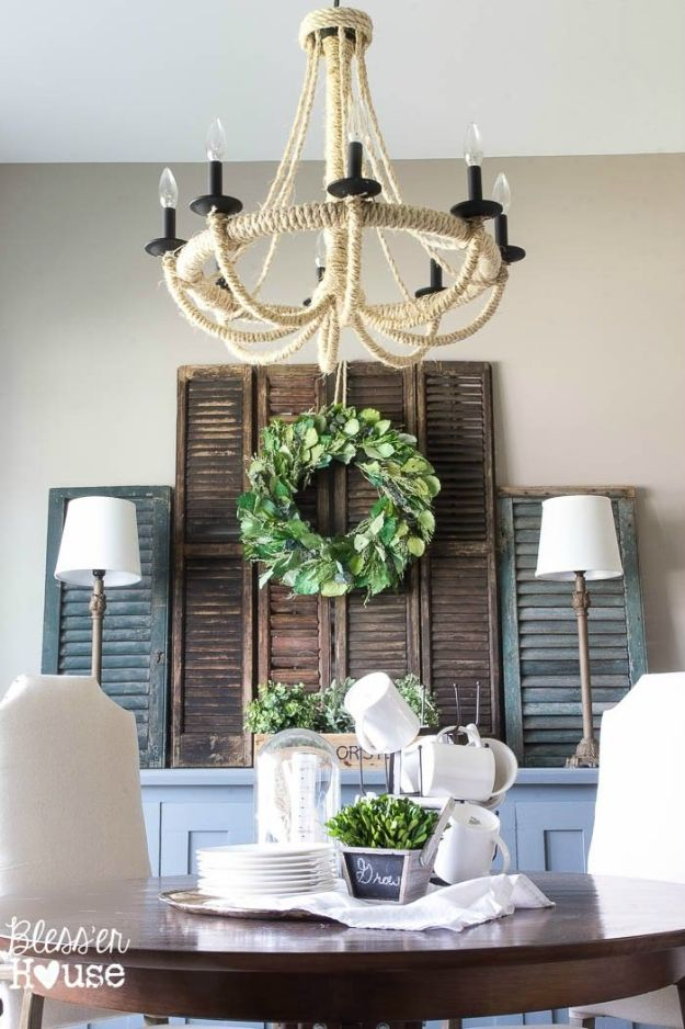 Thrift Store DIY Makeovers - Thrifty Shutter Wall Decor - Decor and Furniture With Upcycling Projects and Tutorials - Room Decor Ideas on A Budget - Crafts and Decor to Make and Sell - Before and After Photos - Farmhouse, Outdoor, Bedroom, Kitchen, Living Room and Dining Room Furniture http://diyjoy.com/thrift-store-makeovers