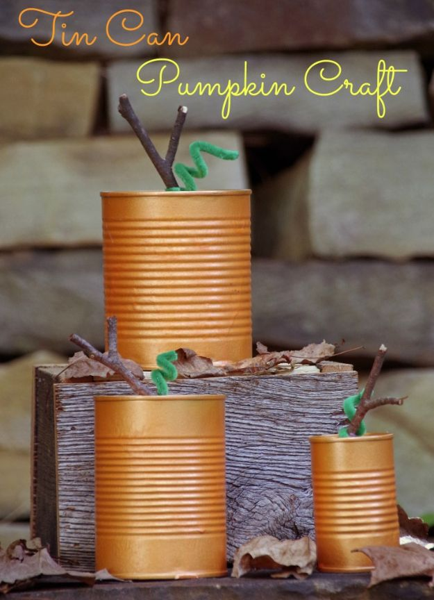Fun Fall Crafts for Kids - Tin Can Pumpkins - Cool Crafts Ideas for Kids to Make With Paper, Glue, Leaves, Corn Husk, Pumpkin and Glitter - Halloween and Thanksgiving - Children Love Making Art, Paintings, Cards and Fall Decor - Placemats, Place Cards, Wall Art , Party Food and Decorations for Toddlers, Boys and Girls #fallcrafts #kidscrafts #kids