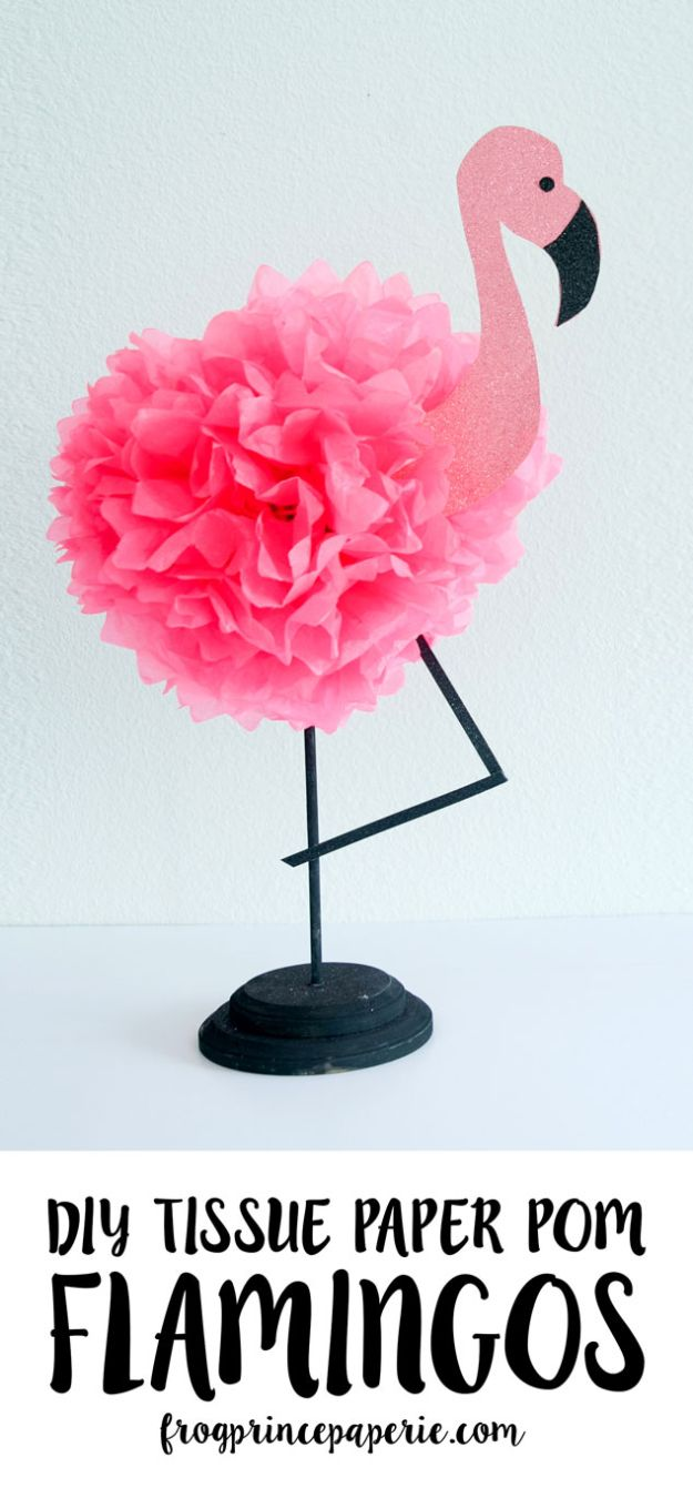 DIY Home Decor On A Budget - Tissue Paper Flamingo - Cheap Home Decorations to Make From The Dollar Store and Dollar Tree - Inexpensive Budget Friendly Wall Art, Furniture, Table Accents, Rugs, Pillows, Bedding and Chairs - Candles, Crafts To Make for Your Bedroom, Pretty Signs and Art, Linens, Storage and Organizing Ideas for Apartments #diydecor #decoratingideas #cheaphomedecor