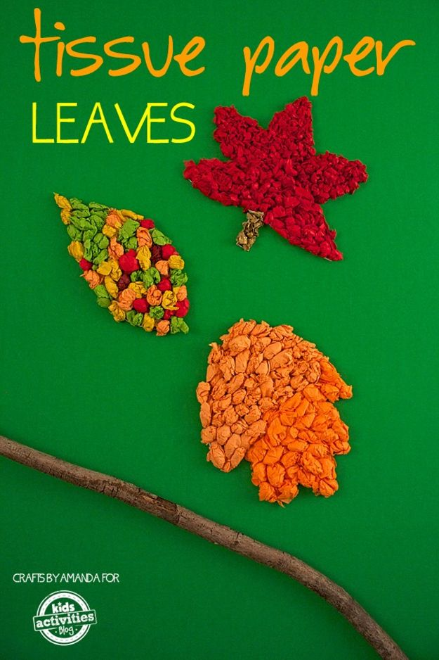Fun Fall Crafts for Kids - Tissue Paper Leaves - Cool Crafts Ideas for Kids to Make With Paper, Glue, Leaves, Corn Husk, Pumpkin and Glitter - Halloween and Thanksgiving - Children Love Making Art, Paintings, Cards and Fall Decor - Placemats, Place Cards, Wall Art , Party Food and Decorations for Toddlers, Boys and Girls http://diyjoy.com/fun-fall-crafts-kids
