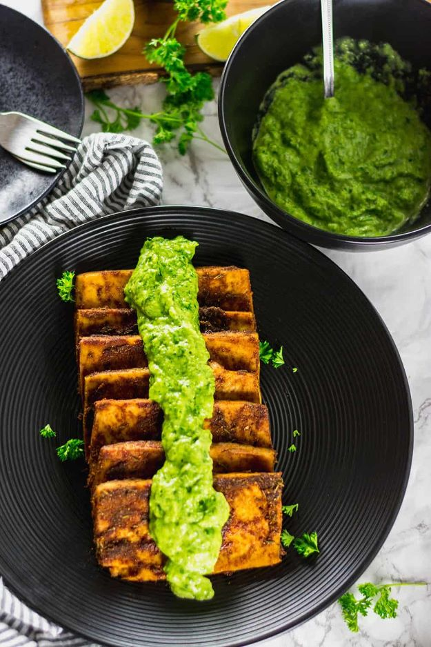Avocado Recipes - Tofu Steaks With Avocado Chimichurri - Quick Avocado Toast, Eggs, Keto Guacamole, Dips, Salads, Healthy Lunches, Breakfast, Dessert and Dinners - Party Foods, Soups, Low Carb Salad Dressings and Smoothie http://diyjoy.com/avocado-recipes