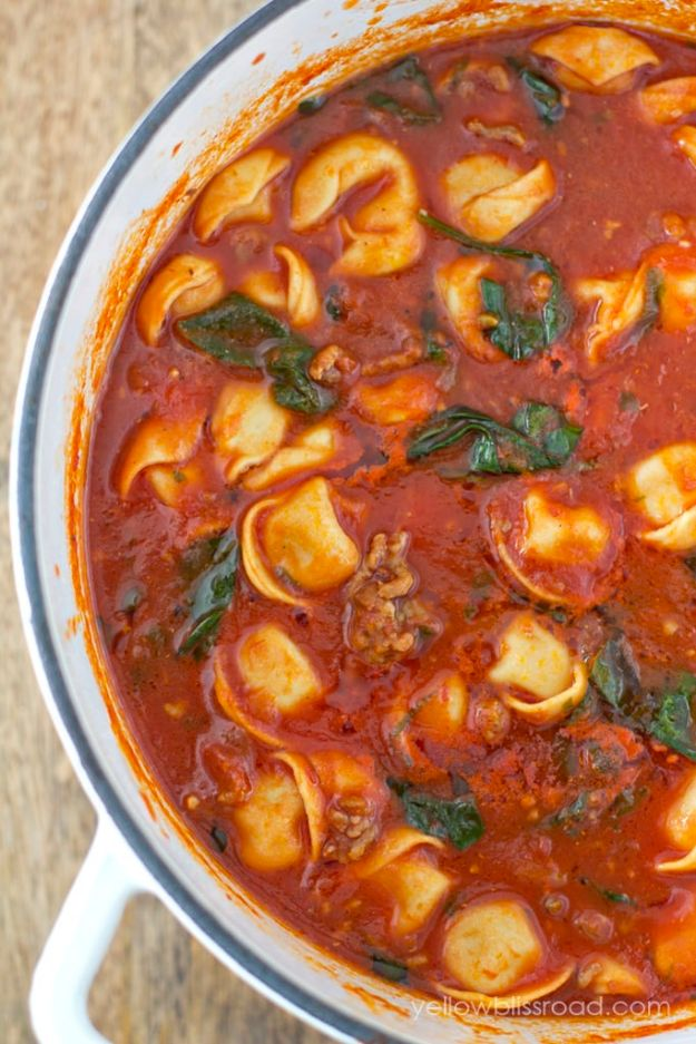 Best Italian Recipes - Tortellini Soup With Italian Sausage and Spinach - Authentic and Traditional italian dishes For Dinner, Appetizers, and Easy Lunch - Pasta with Chicken, Lasagna, Noodles With Cheese, Healthy Recipe Ideas - Party Trays and Food For A Crowd - Fettucini, Spaghetti, Alfredo Sauce, Meatballs, Grilled Steak and Fish, Soup, Seafood, Vegetarian and Crockpot Versions #italian