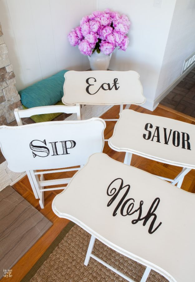 Thrift Store DIY Makeovers - Transfer Typography To Wood Furniture - Decor and Furniture With Upcycling Projects and Tutorials - Room Decor Ideas on A Budget - Crafts and Decor to Make and Sell - Before and After Photos - Farmhouse, Outdoor, Bedroom, Kitchen, Living Room and Dining Room Furniture http://diyjoy.com/thrift-store-makeovers