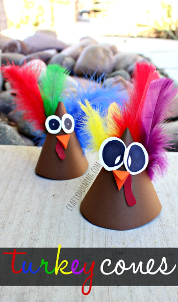 Fun Fall Crafts for Kids - Turkey Cone Craft for Kids - Cool Crafts Ideas for Kids to Make With Paper, Glue, Leaves, Corn Husk, Pumpkin and Glitter - Halloween and Thanksgiving - Children Love Making Art, Paintings, Cards and Fall Decor - Placemats, Place Cards, Wall Art , Party Food and Decorations for Toddlers, Boys and Girls http://diyjoy.com/fun-fall-crafts-kids