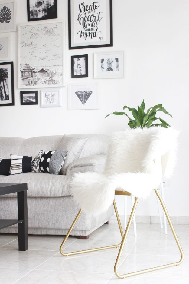 DIY Home Decor On A Budget - Turn A Boring Chair Into A Glam Piece - Cheap Home Decorations to Make From The Dollar Store and Dollar Tree - Inexpensive Budget Friendly Wall Art, Furniture, Table Accents, Rugs, Pillows, Bedding and Chairs - Candles, Crafts To Make for Your Bedroom, Pretty Signs and Art, Linens, Storage and Organizing Ideas for Apartments #diydecor #decoratingideas #cheaphomedecor