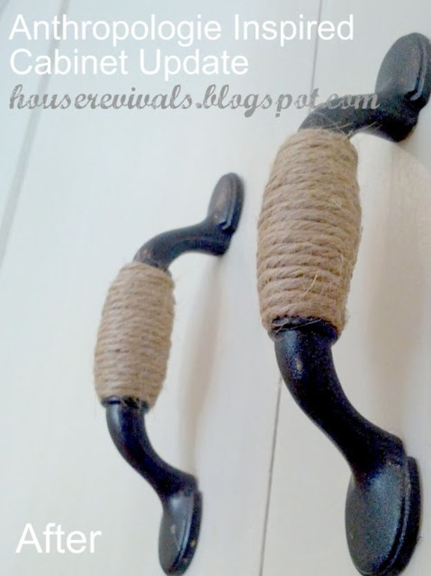 DIY Home Decor Projects for Beginners - Twine Wrapped Cabinet Hardware - Easy Homemade Decoration for Your House or Apartment - Creative Wall Art, Rugs, Furniture and Accessories for Kitchen - Quick and Cheap Ways to Decorate on A Budget - Farmhouse, Rustic, Modern, Boho and Minimalist Style With Step by Step Tutorials http://diyjoy.com/diy-home-decor-beginners
