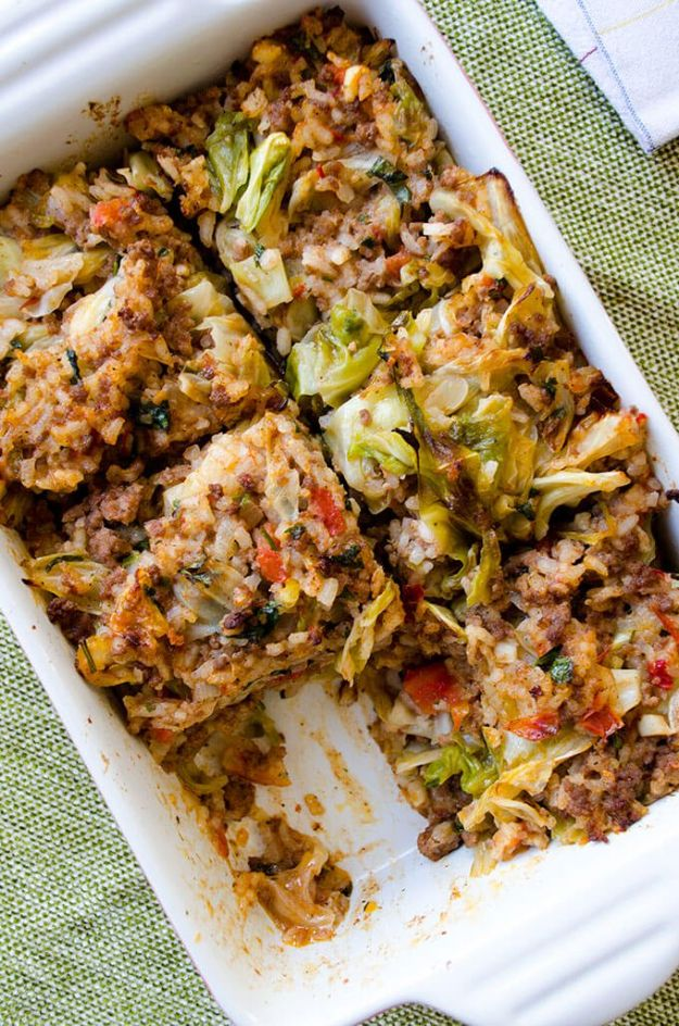 Best Casserole Recipes - Unstuffed Cabbage Casserole - Healthy One Pan Meals Made With Chicken, Hamburger, Potato, Pasta Noodles and Vegetable - Quick Casseroles Kids Like - Breakfast, Lunch and Dinner Options - Mexican, Italian and Homestyle Favorites - Party Foods for A Crowd and Potluck Dishes http://diyjoy.com/best-casserole-recipes
