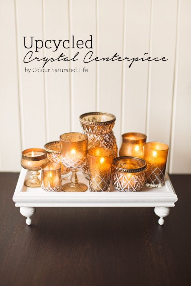 Thrift Store DIY Makeovers - Upcycled Crystal Centerpiece - Decor and Furniture With Upcycling Projects and Tutorials - Room Decor Ideas on A Budget - Crafts and Decor to Make and Sell - Before and After Photos - Farmhouse, Outdoor, Bedroom, Kitchen, Living Room and Dining Room Furniture http://diyjoy.com/thrift-store-makeovers