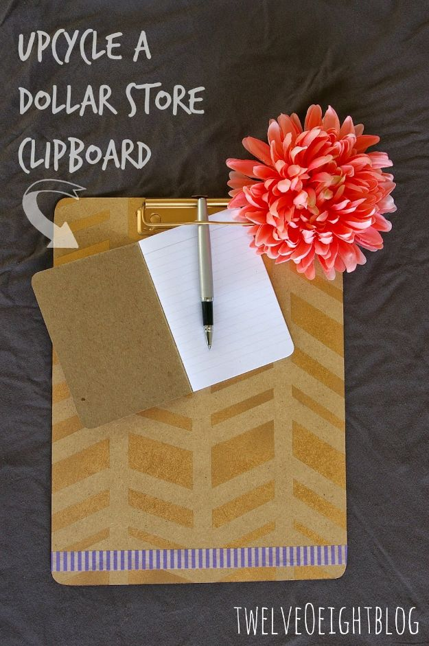 Cheap DIY Gift Ideas - Upcyle A Dollar Store Clipboard - List of Handmade Gifts on A Budget and Inexpensive Christmas Presents - Do It Yourself Gift Idea for Family and Friends, Mom and Dad, For Guys and Women, Boyfriend, Girlfriend, BFF, Kids and Teens - Dollar Store and Dollar Tree Crafts, Home Decor, Room Accessories and Fun Things to Make At Home http://diyjoy.com/cheap-diy-gift-ideas