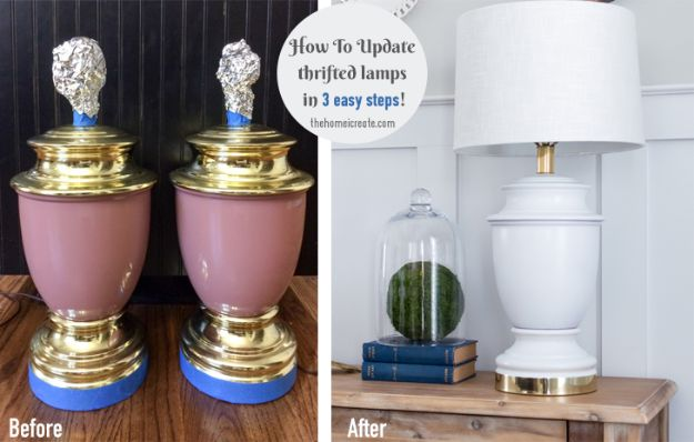 Thrift Store DIY Makeovers - Update Thrifted Lamps - Decor and Furniture With Upcycling Projects and Tutorials - Room Decor Ideas on A Budget - Crafts and Decor to Make and Sell - Before and After Photos - Farmhouse, Outdoor, Bedroom, Kitchen, Living Room and Dining Room Furniture http://diyjoy.com/thrift-store-makeovers