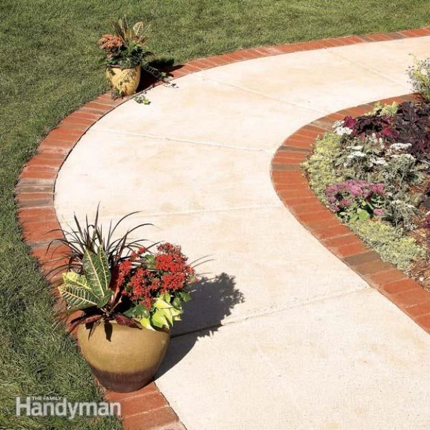DIY Ideas With Bricks - Use Brick Borders for Path Edging - Home Decor and Creative Do It Yourself Projects to Make With Bricks - Ideas for Patio, Walkway, Fireplace, Firepit, Mantle, Grill and Art - Inexpensive Decoration Tutorials With Step By Step Instruction for Brick DIY #diy #homeimprovement
