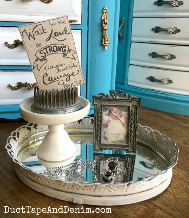 Thrift Store DIY Makeovers - Vanity Mirror Tray Makeover - Decor and Furniture With Upcycling Projects and Tutorials - Room Decor Ideas on A Budget - Crafts and Decor to Make and Sell - Before and After Photos - Farmhouse, Outdoor, Bedroom, Kitchen, Living Room and Dining Room Furniture http://diyjoy.com/thrift-store-makeovers