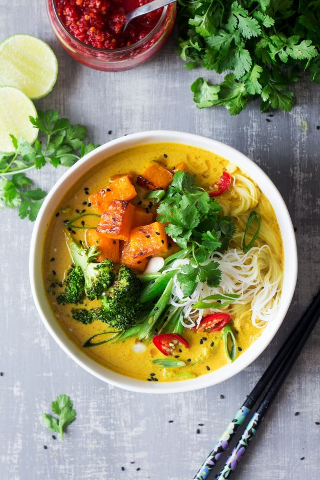 Soup Recipes - Vegan Khao Soi Soup - Healthy Soups and Recipe Ideas - Easy Slow Cooker Dishes, Soup Recipe for Chicken, Sausage, With Ground Beef, Potato, Vegetarian, Mexican and Asian Varieties - Creamy Soups for Winter and Fall - Low Carb and Keto Meals - Quick Bean Soup and Copycat Recipes #soup #recipes