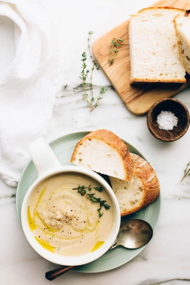 Soup Recipes - Vegan Roasted Garlic Cauliflower Soup - Healthy Soups and Recipe Ideas - Easy Slow Cooker Dishes, Soup Recipe for Chicken, Sausage, With Ground Beef, Potato, Vegetarian, Mexican and Asian Varieties - Creamy Soups for Winter and Fall - Low Carb and Keto Meals - Quick Bean Soup and Copycat Recipes http://diyjoy.com/soup-recipes