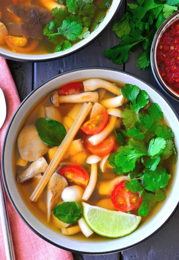 Soup Recipes - Vegetarian Tom Yum Soup - Healthy Soups and Recipe Ideas - Easy Slow Cooker Dishes, Soup Recipe for Chicken, Sausage, With Ground Beef, Potato, Vegetarian, Mexican and Asian Varieties - Creamy Soups for Winter and Fall - Low Carb and Keto Meals - Quick Bean Soup and Copycat Recipes #soup #recipes
