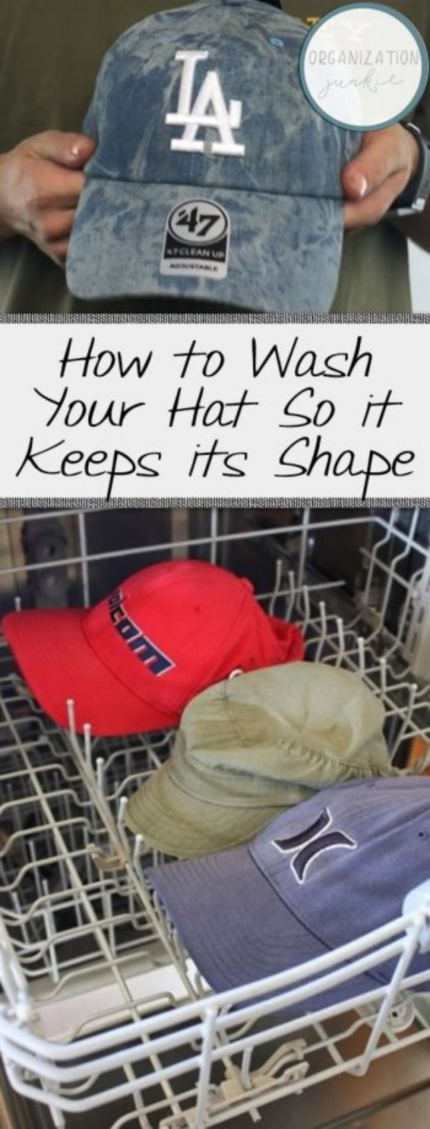Laundry Hacks - Wash Your Hat So it Keeps its Shape - Cool Tips for Busy Moms and Laundry Lifehacks - Laundry Room Organizing Ideas, Storage and Makeover - Folding, Drying, Cleaning and Stain Removal Tips for Clothes - How to Remove Stains, Paint, Ink and Smells - Whitening Tricks and Solutions - DIY Products and Recipes for Clothing Soaps http://diyjoy.com/laundry-hacks