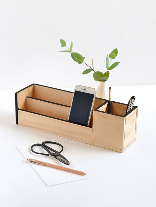 DIY Office Furniture - Wood Desk Organizer - Do It Yourself Home Office Furniture Ideas - Desk Projects, Thrift Store Makeovers, Chairs, Office File Cabinets and Organization - Shelving, Bulletin Boards, Wall Art for Offices and Creative Work Spaces in Your House - Tables, Armchairs, Desk Accessories and Easy Desks To Make On A Budget #diyoffice #diyfurniture #diy #diyhomedecor #diyideas