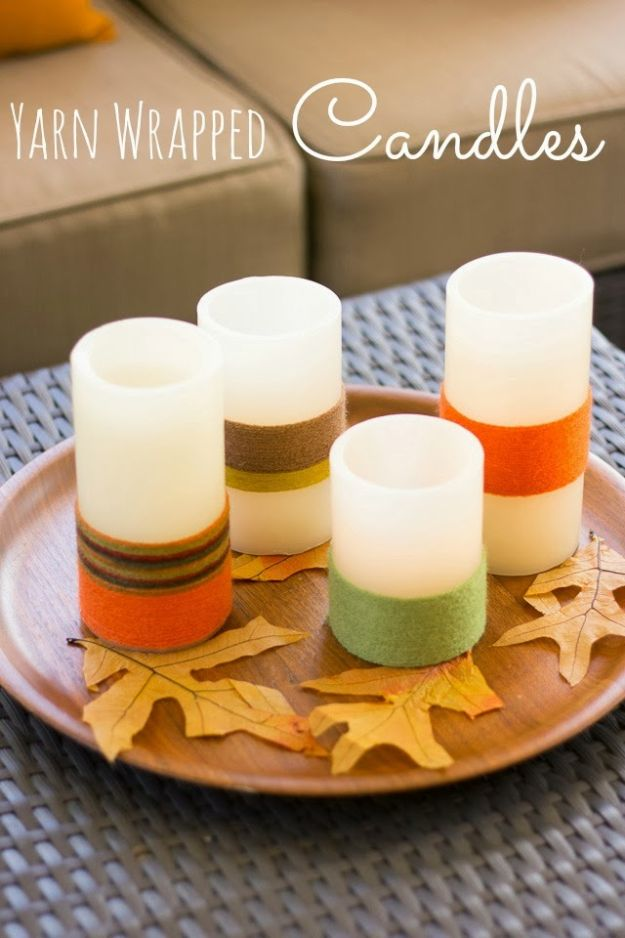 Cheap DIY Gift Ideas - Yarn Wrapped Candles - List of Handmade Gifts on A Budget and Inexpensive Christmas Presents - Do It Yourself Gift Idea for Family and Friends, Mom and Dad, For Guys and Women, Boyfriend, Girlfriend, BFF, Kids and Teens - Dollar Store and Dollar Tree Crafts, Home Decor, Room Accessories and Fun Things to Make At Home http://diyjoy.com/cheap-diy-gift-ideas