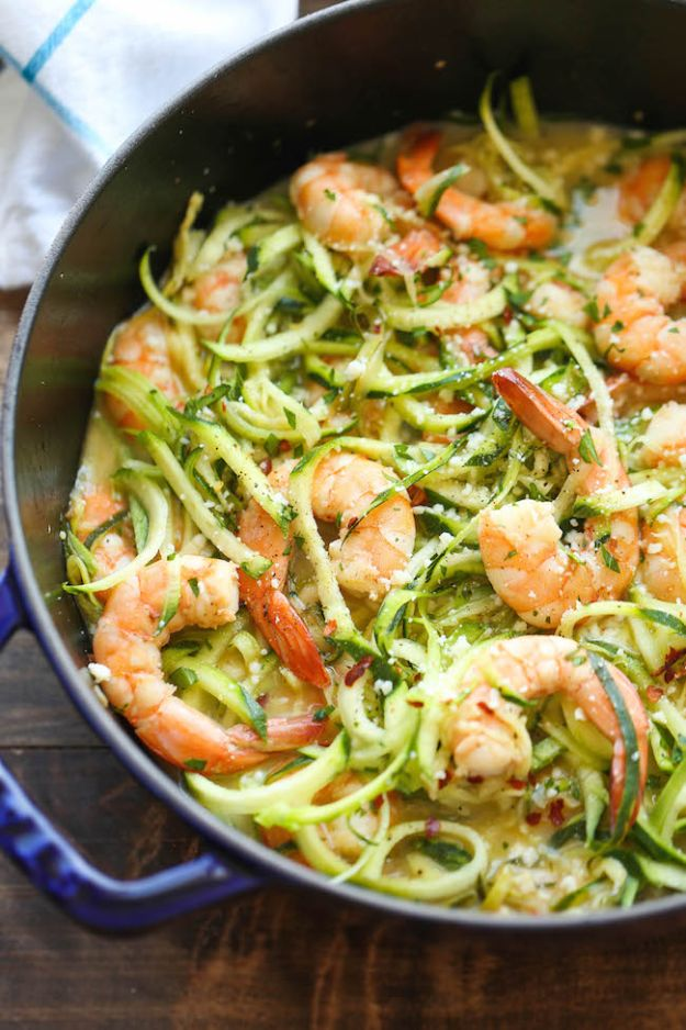 Veggie Noodle Recipes - Zucchini Shrimp Scampi - How to Cook With Veggie Noodles - Healthy Pasta Recipe Ideas - How to Make Veggie Noodles With Carrots and Zucchini - Vegan, Vegetarian , Keto and Low Carb Dishes for Your Diet - Meatballs, Chicken, Cheese, Asian Stir Fry, Salad and Raw Preparations #veggienoodles #recipes #keto #lowcarb #ketorecipes http://diyjoy.com/veggie-noodle-recipes
