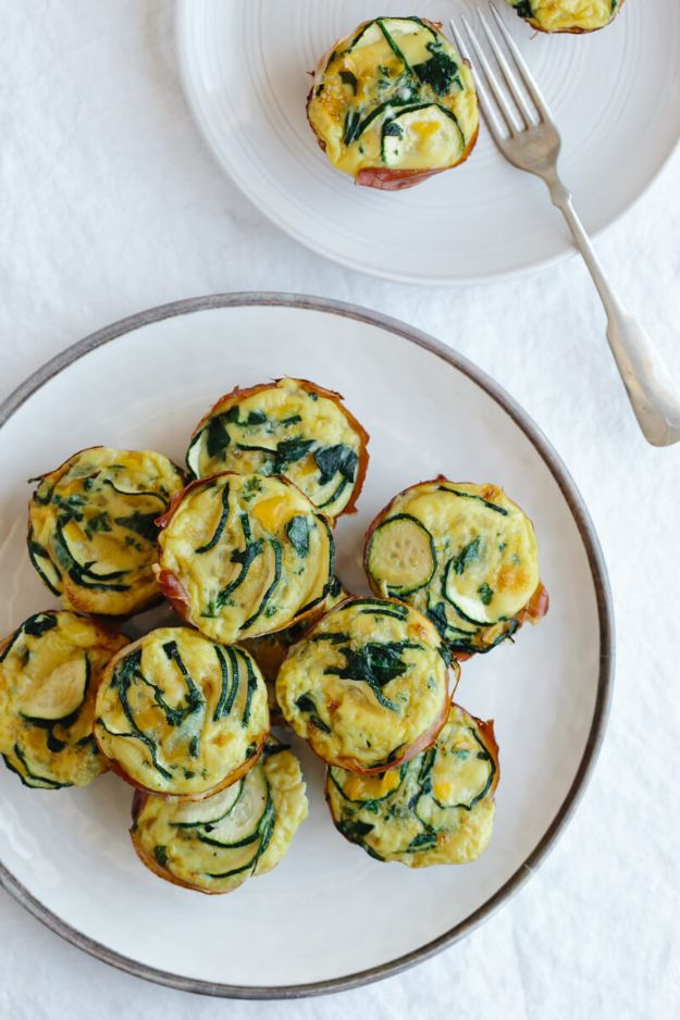 Keto Breakfast Recipes - Zucchini and Prosciutto Egg Muffins - Low Carb Breakfasts and Morning Meals for the Ketogenic Diet - Low Carbohydrate Foods on the Go - Easy Crockpot Recipes and Casserole - Muffins and Pancakes, Shake and Smoothie, Ideas With No Eggs http://diyjoy.com/keto-breakfast-recipes