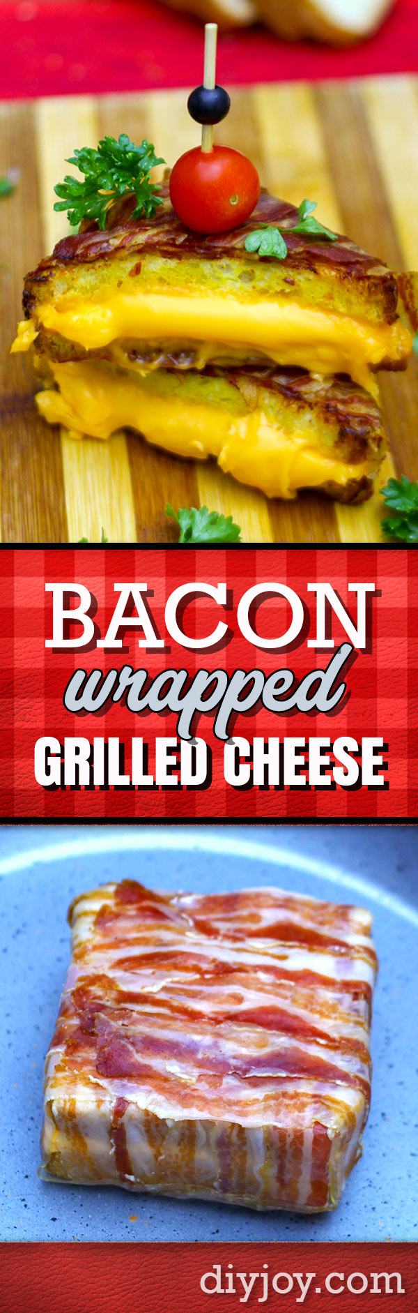 How To Make A Bacon Wrapped Grilled Cheese Sandwich - Step by Step Recipe Tutorial and Video - Easy Snack and Lunch Ideas