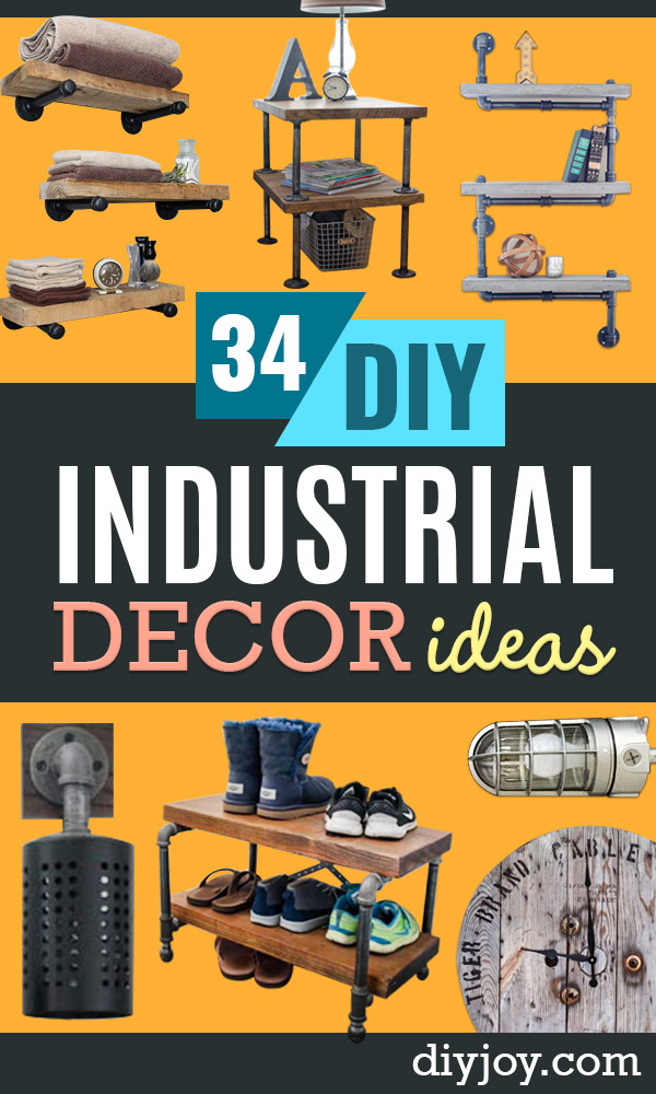 DIY Industrial Decor - Knock Off Industrial Side Table - Industrail Shelves, Furniture, Table, Desk, Cart, Headboard, Chandelier, Bookcase - Easy Pipe Shelf Tutorial - Rustic Farmhouse Home Decor on A Budget - Lighting Ideas for Bedroom, Bathroom and Kitchen