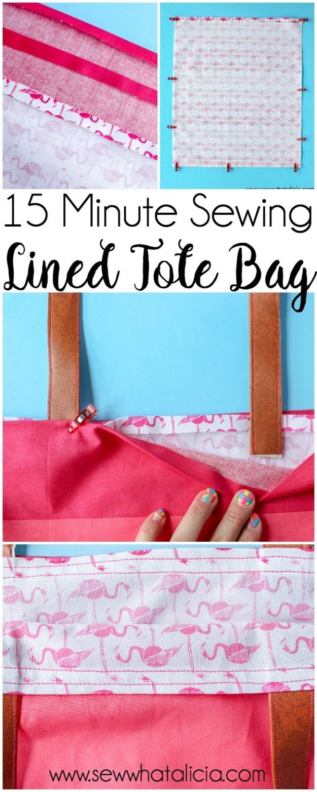 Sewing Projects for Beginners - 15-Minute Lined Tote Bag - Easy Sewing Project Ideas and Free Patterns for Basic Clothing, Kids Clothes, Quick Baby Gifts, DIY Bags, Sewing Crafts to Make and Sell on Etsy - Scarf Tutorial, Blankets, Stuffed Animals, Home Decor and Linens, Curtains and Bedding, Hand Sewn and Maching Made Items That You Can Sew For Cute Christmas Presents - Creative Sewing Craft Ideas for Women and Men http://diyjoy.com/sewing-projects-for-beginners