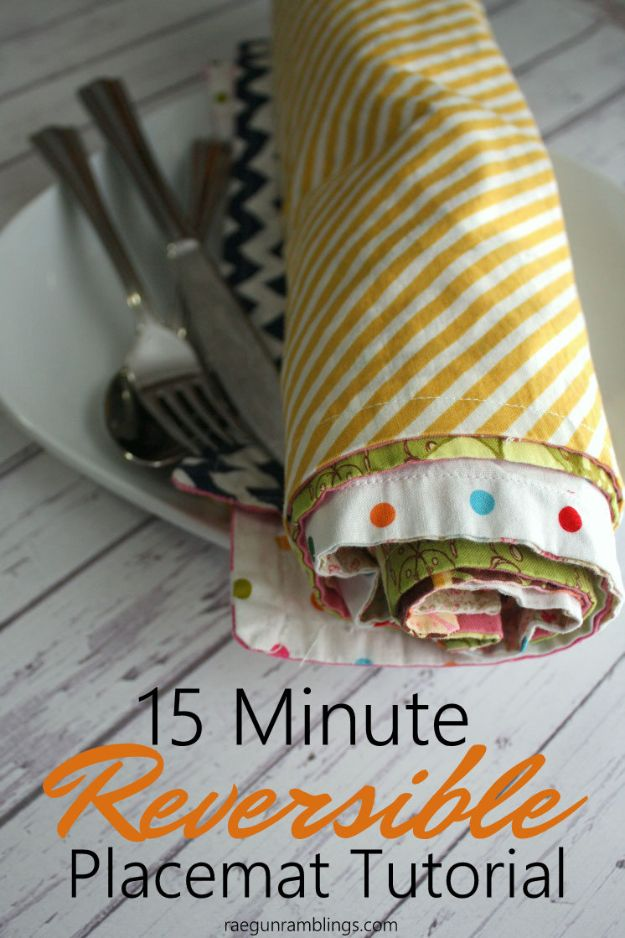 Sewing Projects for Beginners - 15-Minute Reversible Placemats - Easy Sewing Project Ideas and Free Patterns for Basic Clothing, Kids Clothes, Quick Baby Gifts, DIY Bags, Sewing Crafts to Make and Sell on Etsy - Scarf Tutorial, Blankets, Stuffed Animals, Home Decor and Linens, Curtains and Bedding, Hand Sewn and Maching Made Items That You Can Sew For Cute Christmas Presents - Creative Sewing Craft Ideas for Women and Men http://diyjoy.com/sewing-projects-for-beginners