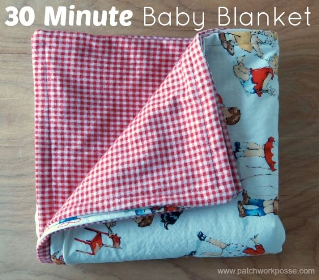 Sewing Projects for Beginners - 30 Minute Baby Blanket - Easy Sewing Project Ideas and Free Patterns for Basic Clothing, Kids Clothes, Quick Baby Gifts, DIY Bags, Sewing Crafts to Make and Sell on Etsy - Scarf Tutorial, Blankets, Stuffed Animals, Home Decor and Linens, Curtains and Bedding, Hand Sewn and Maching Made Items That You Can Sew For Cute Christmas Presents - Creative Sewing Craft Ideas for Women and Men http://diyjoy.com/sewing-projects-for-beginners