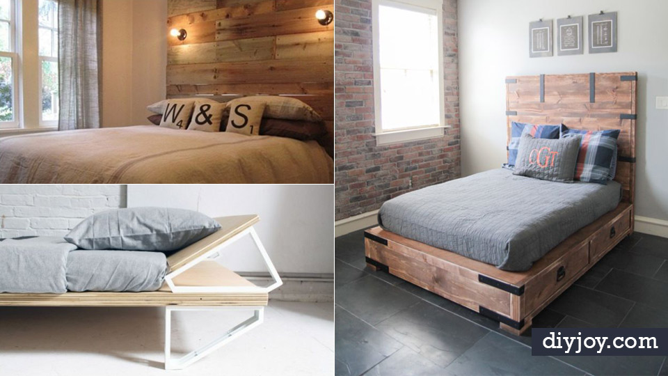 34 diy bed frames to make your bedroom furniture dreams - Cool queen bed frames ...