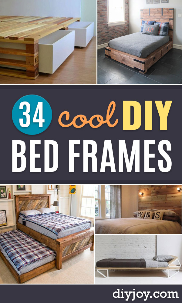 DIY Bed Frames - How To Make a Headboard - Do It Yourself Projects for Platform Beds, Twin, King, Queen and Full Bed - Kids Rooms, Drawers and Storage Units, Bookshelf - Rustic, Farmhouse Style Furniture For Your Bedroom, Modern Decor, Cheap and Easy Ways to Make a Bed With Step by Step Tutorial and Free Plans http://diyjoy.com/diy-bed-frames