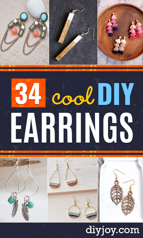 DIY Earrings - Easy Earring Projects for Studs, Dangle, Hoops, Tassel, Wire Wrap Beads and Handmade Cuff - Vintage, Boho, Beaded, Leather, Fabric andCrochet Ideas - Cheap Gifts for Her - Homemade Jewelry Tutorials With Step By Step Instructions #diy #jewelry