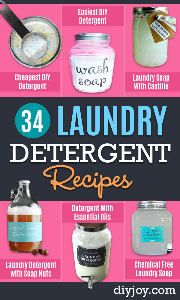 Laundry Detergent Recipes - DIY Detergents and Cleaning Recipe Tutorials for Homemade Inexpensive Cleaners You Can Make At Home - Scented Powder and Liquid for He Washer - Save Money With These Cheap Ideas - Natural Products With Essential Oils - Baby, Sensitive Skin Detergent Free Ideas http://diyjoy.com/diy-laundry-detergent-recipes