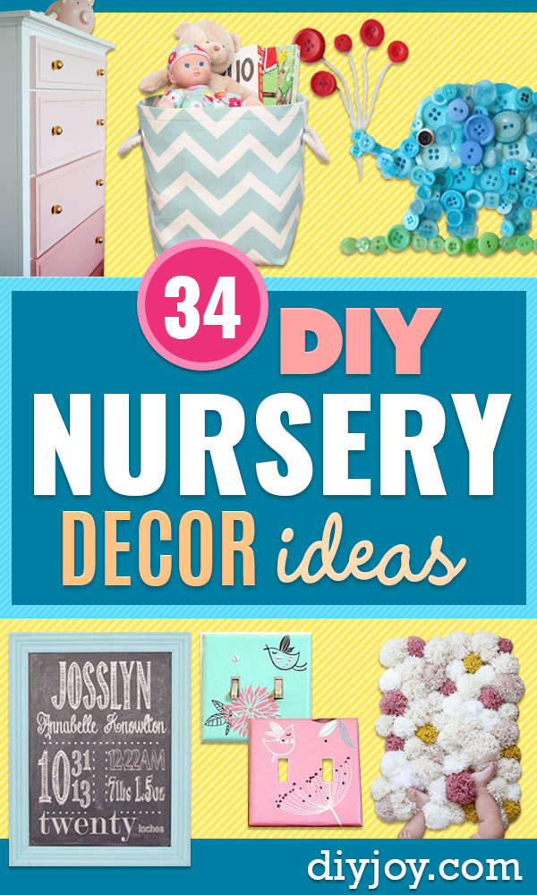 DIY Nursery Decor - Easy Projects to Make for Baby Room - Decorations for Boy and Girl Rooms, Unisex, Minimalist and Modern Nurseries and Rustic, Farmhouse Style - All White, Pink, Blue, Yellow and Green - Cribs, Bedding, Wall Art and Hangings, Rocking Chairs, Pillows, Changing Tables, Storage and Bassinet for Baby http://diyjoy.com/diy-nursery-decor