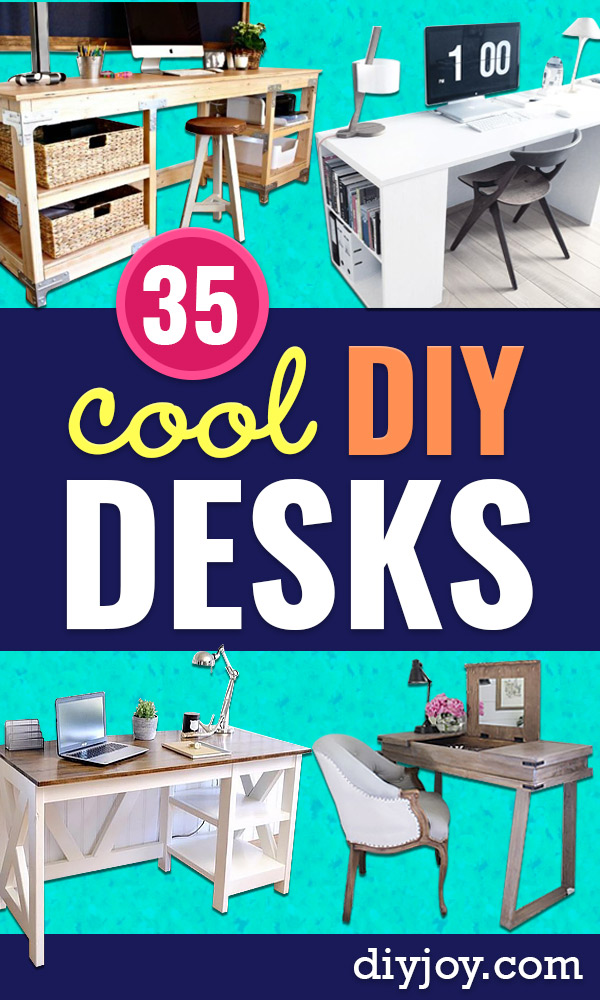 DIY Desks - Easy To Make Do It Yourself Desk Projects With Step by Step tutorials - Rustic Wood Pallet, Farmhouse Style Furniture, Modern Design and Upcycling Makeover Project Plans - Standing Computer Desks, Ideas for Small Spaces and Home Office - Cheap Desks With Built In Organization, With Storage, With Hutch and Filing Cabinets