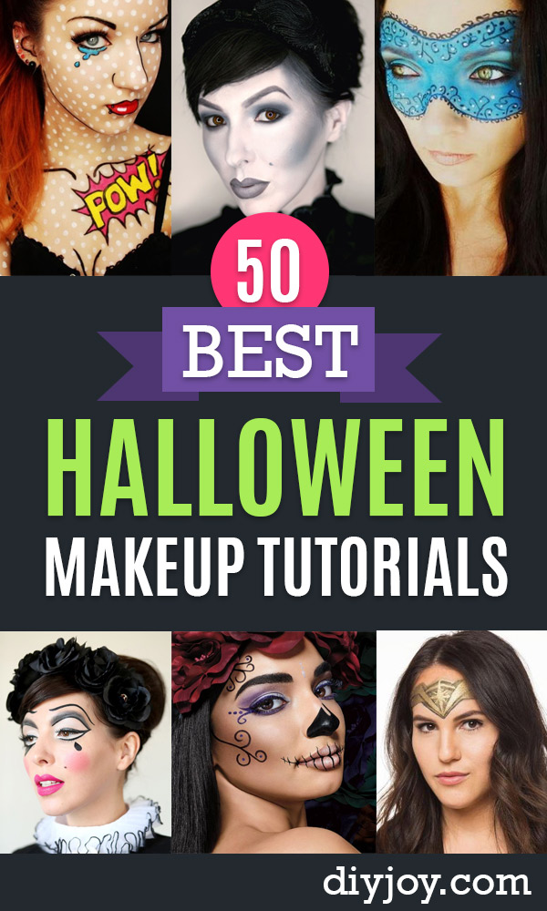 Best Halloween Makeup Tutorials - Easy Makeup Tips and Tutorial Ideas for The Best Halloween Costume - Animals, Eyes, Creative Faces, Simple and Scary Ghosts, Skeletons and Creatures - Zombie Makeup, Cute Looks, DIY Vampire, Gypsy, Mermaid and Creepy Sugar Skull, Cool Glam Looks for A Halloween Party and Instagram Photos - Ideas for Couples and Kids http://diyjoy.com/best-halloween-makeup-tutorials
