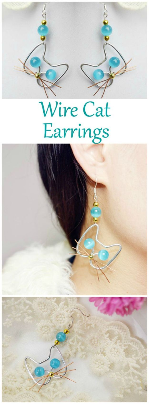 DIY Earrings - Adorable Wire Cat Earrings - Easy Earring Projects for Studs, Dangle, Hoops, Tassel, Wire Wrap Beads and Handmade Cuff - Vintage, Boho, Beaded, Leather, Fabric andCrochet Ideas - Cheap Gifts for Her - Homemade Jewelry Tutorials With Step By Step Instructions